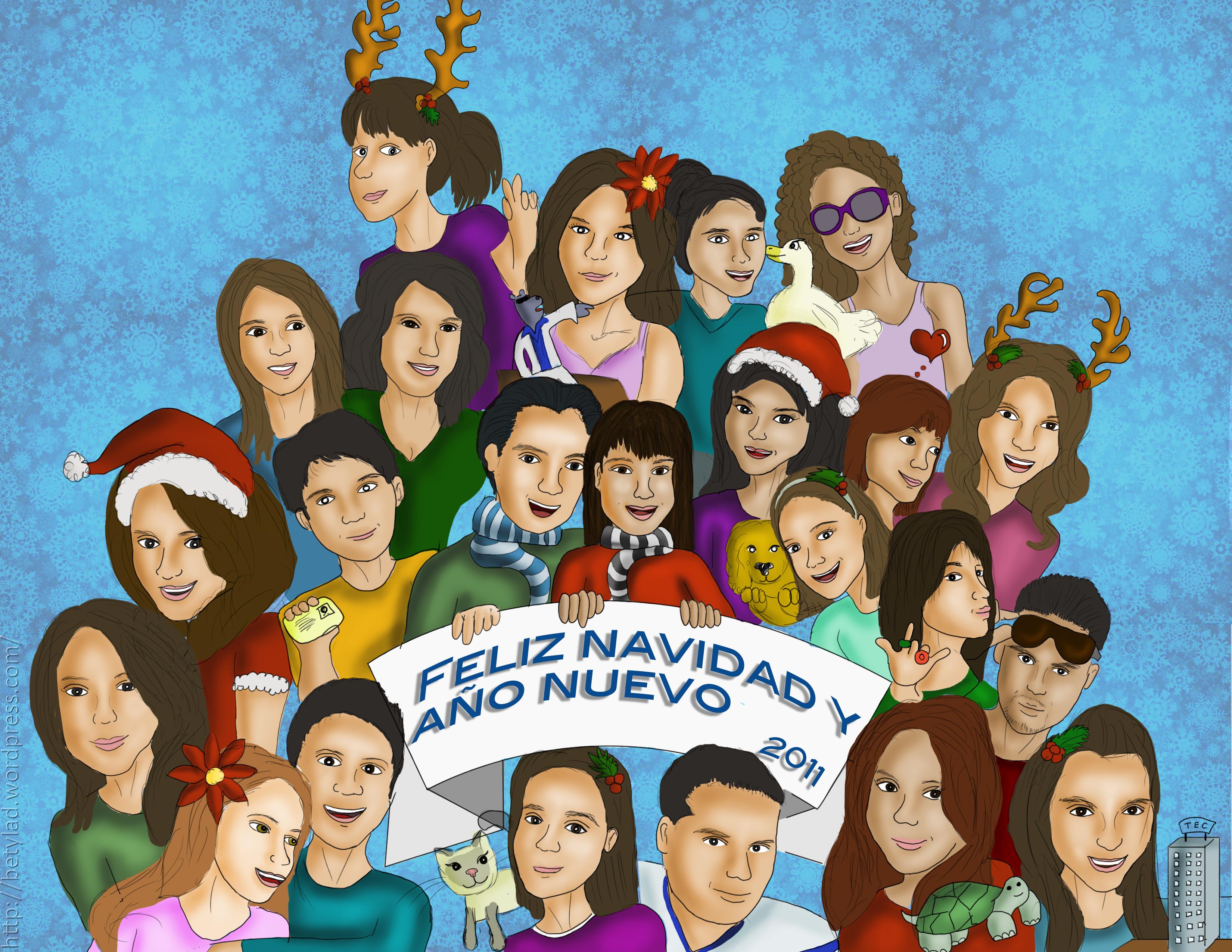 Feliz Personas Exitosas En Caricaturas: Feliz Navidad Y Año Nuevo! (caricatura Para Mis Amigos
